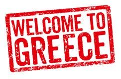 Selo vermelho em um fundo branco - boa vinda a Grécia Fotografia de Stock Royalty Free