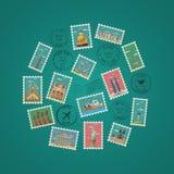 Selos com composições arquitetónicas famosas ilustração do vetor