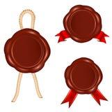 Selos da cera com corda e as fitas vermelhas. ilustração do vetor