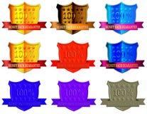 Selos da garantia da parte traseira do dinheiro ajustados Imagens de Stock
