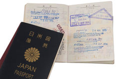 Selos da imigração do passaporte e do visto Fotografia de Stock Royalty Free