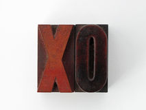 Selos de letra do Woodcut X e O Imagem de Stock