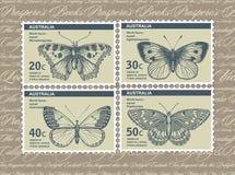 Selos de porte postal Borboleta, traça isolada Inseto realístico fauna postcard Gravura, natureza do desenho Ilustração do vintag Foto de Stock