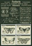 Selos de porte postal Borboleta, traça isolada Inseto realístico fauna postcard Gravura, natureza do desenho Ilustração do vintag Imagem de Stock Royalty Free