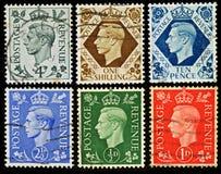 Selos de porte postal britânicos do vintage Foto de Stock Royalty Free