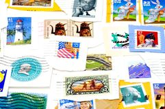 Selos de porte postal cancelados dos E.U. Imagem de Stock