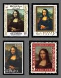 Selos de porte postal de Mona Lisa Fotografia de Stock Royalty Free