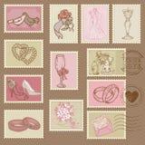 Selos de porte postal do casamento Imagem de Stock Royalty Free