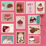 Selos de porte postal dos bolos e das sobremesas Fotografia de Stock