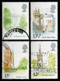 Selos de porte postal dos marcos de Londres Fotografia de Stock