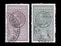 Selos de porte postal romania Rei 1930 Carol II fotografia de stock royalty free