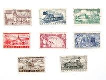 Selos de porte postal velhos de Checoslováquia Foto de Stock