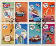 selos de uma comunicação 1976 de Coreia em Coreia Imagens de Stock