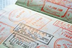 Selos de visto do passaporte imagem de stock