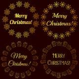 Selos do Feliz Natal, etiquetas douradas ilustração do vetor
