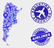 Selos do mapa e do Grunge de Argentina do vetor da colagem do avião ilustração do vetor