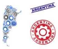 Selos do mapa e do Grunge de Argentina do vetor do mosaico da oficina ilustração royalty free