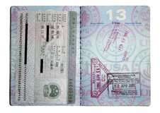 Selos do passaporte Foto de Stock Royalty Free