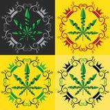 Selos do símbolo da folha do cannabis da marijuana Fotografia de Stock