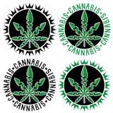 Selos do símbolo da folha do cannabis da marijuana Foto de Stock