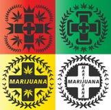 Selos do símbolo dos primeiros socorros da marijuana do cannabis Imagens de Stock Royalty Free