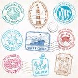 Selos do vintage da viagem do mar do vetor Foto de Stock