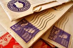 Selos do vintage em envelopes imagem de stock royalty free