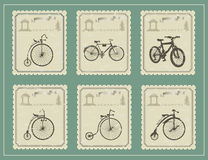 Selos do vintage em uma tabela verde Imagens de Stock