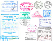 Selos do visto e do passaporte Fotos de Stock Royalty Free