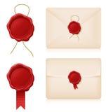 Selos e envelopes da cera ilustração stock