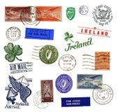 Selos e etiquetas de porte postal de Ireland ilustração royalty free