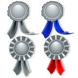 Selos e medalhas em branco na prata Imagem de Stock
