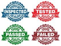 Selos falhados passados testados inspecionados Fotos de Stock