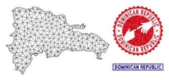 Selos poligonais de Mesh Dominican Republic Map e do Grunge ilustração royalty free