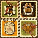 Selos postais ajustados para o tema da cerveja Fotos de Stock Royalty Free