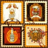 Selos postais ajustados para o tema da cerveja Imagens de Stock Royalty Free