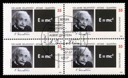 Selos postais alemães com o retrato de Albert Einstein imagem de stock