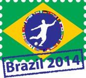 Selos postais com as bandeiras em Brasil Fotografia de Stock