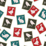 Selos postais com fundo dos pássaros e dos coelhos Imagens de Stock