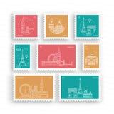 Selos postais com marcos arquitetónicos Fotos de Stock Royalty Free