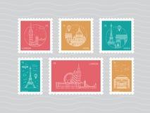 Selos postais com marcos arquitetónicos Imagem de Stock Royalty Free