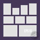 Selos postais com molde perfurado do vetor da borda e do selo de correio ilustração stock