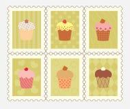 Selos postais com queques decorados Foto de Stock Royalty Free
