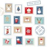 Selos postais do Natal ajustados Fotografia de Stock