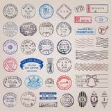 Selos postais do vintage do vetor ilustração royalty free