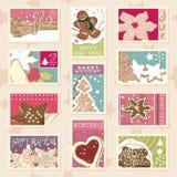 Selos postais dos biscoitos do inverno Imagens de Stock Royalty Free