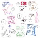 Selos postais e etiquetas da antiga União Soviética Fotografia de Stock