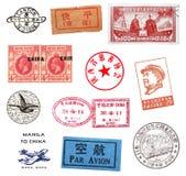 Selos postais e etiquetas de China imagens de stock