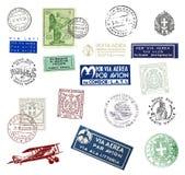 Selos postais e etiquetas de Itália Fotografia de Stock