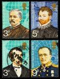 Selos postais famosos dos exploradores Foto de Stock
